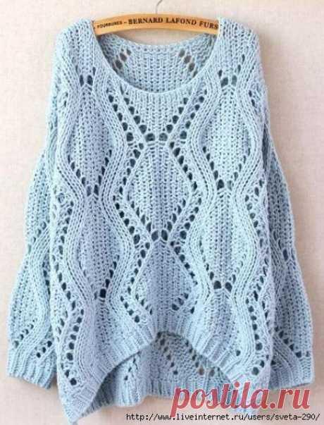 Голубой пуловер оверсайз с круглым вырезом