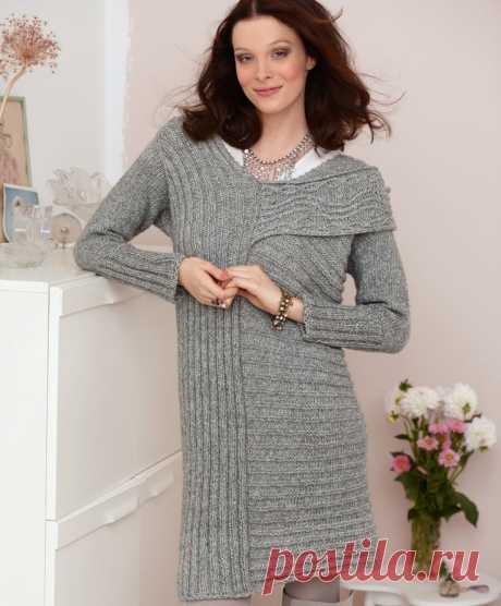 Платье-пуловер спицами в продольно-поперечную резинку - Портал рукоделия и моды
