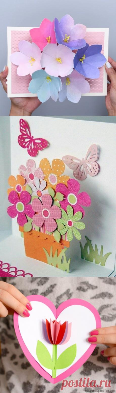 Как сделать объемные открытки своими руками с цветами внутри на день рождения: схемы, шаблоны, мастер-классы по созданию 3д открыток   Крестик
