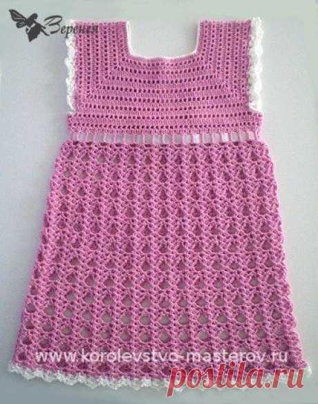 Вязание: платье крючком для девочки.