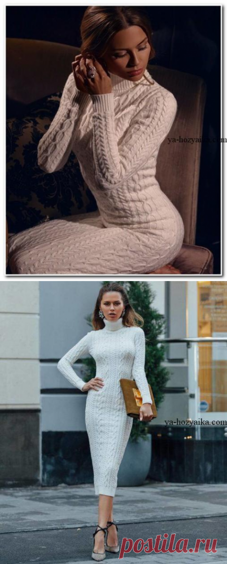 Fashionable dress spokes a pattern from braids. Knitted spokes a dress from Victoria Boni