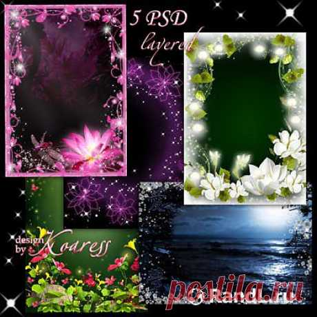 """Set of a multilayered framework for a photoshop - Easy night magic\"""" RandL.ru - All about graphics, photoshop and design. To download photoshop, a photo, pictures, wall-paper, drawings, icons, cliparts, templates is free."""
