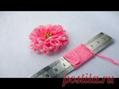 hand embroidery amazing trick# easy trick to make woolen flower with scale# wool flower