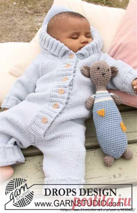 Вязаный комбинезон для детей от 1/3 месяцев до 3/4-х лет.