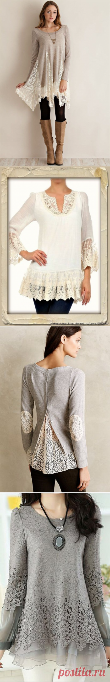 Los rehacimientos. Como adornar el jersey o la blusa con el encaje tierno. Las ideas para la inspiración creadora