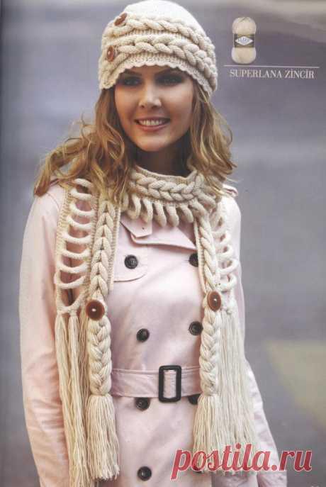 Видео-уроки по вязанию: Шапка и шарф с косами