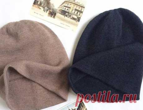 "Двойная шапка-бини без бросовой нити ""От макушки до макушки"" | Вязание спицами и крючком | Яндекс Дзен"