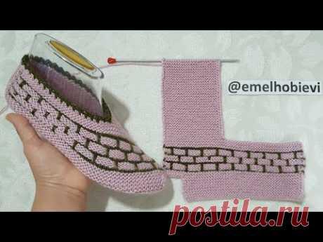 Tuğla Desen İki Şiş Dikişsiz Patik Yapımı / Very Easy Knitting Slippers