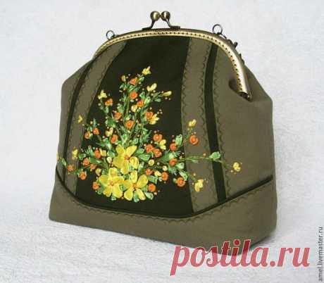 """Купить Сумка """"Таёжный роман"""" - хаки, цветочный, сумка, сумка женская, сумка ручной работы"""