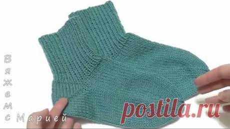 Носки на 5 спицах без швов. Пятка бумеранг. Вязание носков для начинающих