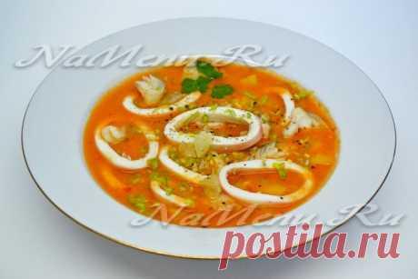 Рыбный крем-суп с кальмарами