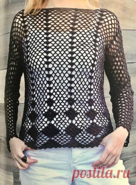Схема вязанного пуловера крючком, справится даже новичок.   Рукодельница и домохозяйка   Яндекс Дзен