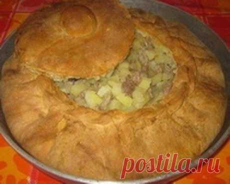 Большой татарский пирог(с картошкой и мясом)
