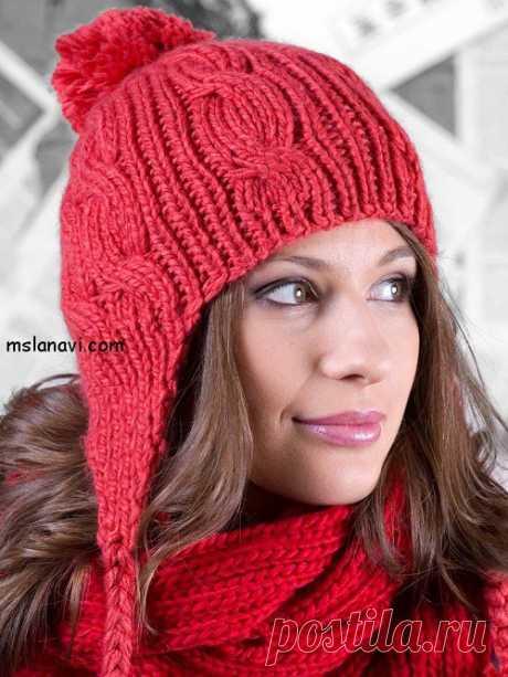 Вязаные женские шапки с ушками или завязками   Вяжем с Лана Ви