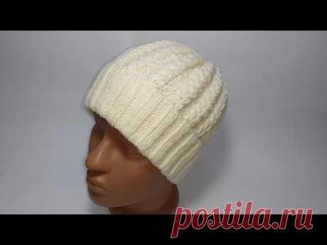 Шапка спицами - тренд всех времён-шапка узором колосок