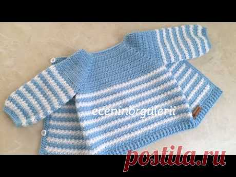 2 Color Easy Pattern Crochet Baby Cardigan / Baby Boy-Girl Baby Jacket / For 6-12 months