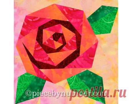 Rosie's Rose quilt block rose quilt от PieceByNumberQuilts на Etsy