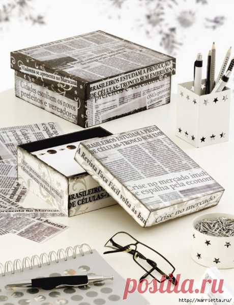 Еще одна идея оформления подарков — декорирование обувных коробок тканью и газетами . Милая Я