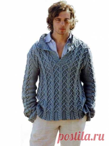 """Красивый мужской джемпер """"Морские напевы"""" - вязание спицами"""