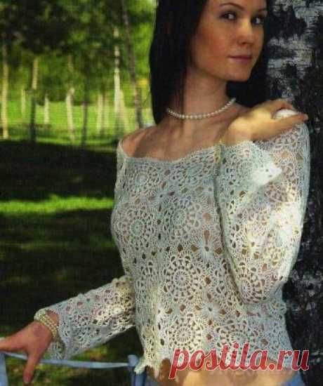 Ажурный пуловер из мотивов вязаный крючком схема по ссылке:      https://ru4kami.ru/vyazhem-odezhdu/860-vyazanyy-pulover-kryuchkom.html