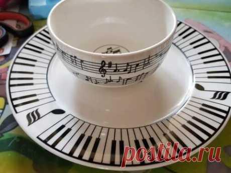Music Note Plate & Bowl Dinner Set - Artistic Pod