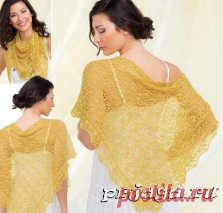 «Золотая» шаль спицами, схема