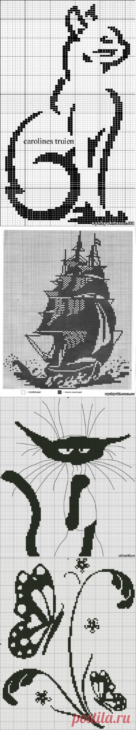 Схемы вышивки крестом черно - белое