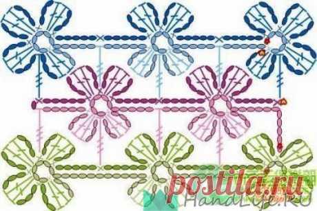 Схемы безотрывного вязания мотивов / Мое творчество - вязание