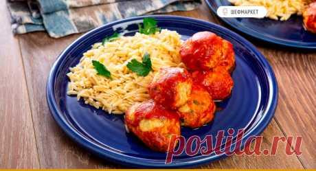 Куриные фрикадельки с оливками и пармезаном, запечённые с томатным соусом, с пастой орзо | Что приготовить на ужин?