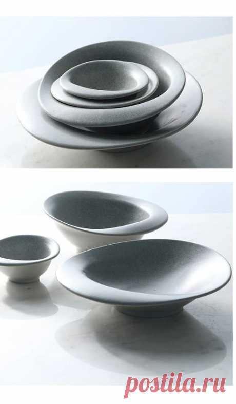 красивые серые тарелки неправильной формы