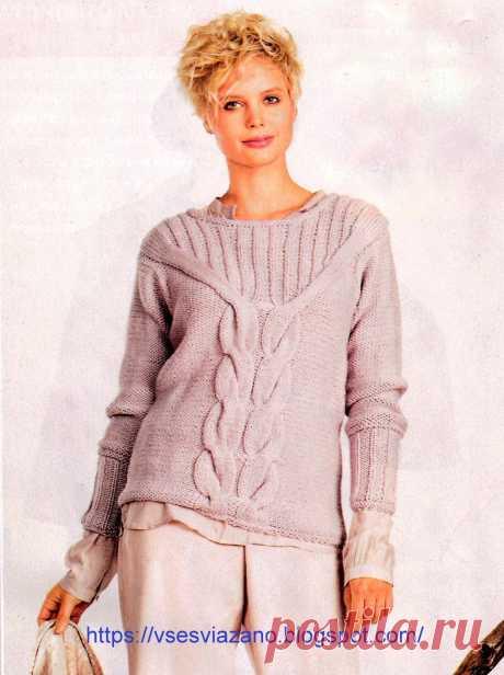 ВСЕ СВЯЗАНО. ROSOMAHA.: Пуловер цвета пыльной розы с центральнной косой.