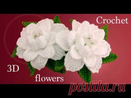 Como hacer flores gardenias 3D con hojas a Crochet tejido tallermanualperu