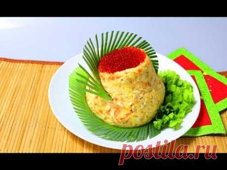 Салат с тунцом. Оригинальная подача блюда ингредиенты : тунец консервированный салатный - 1 баночка икра красная - 1 баночка картофель - 2-3 шт. морковь - 1 шт. лук - пол луковицы сыр - 150 гр. яйца ...
