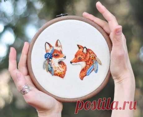 Сестрички-лисички: 5 идей вышивки с рыжими красавицами | MIAZAR | Яндекс Дзен