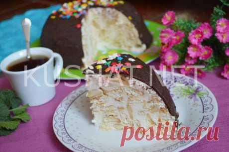 Торт из печенья «Рыбки» со сметаной и бананом. Пошаговый рецепт с фото • Кушать нет