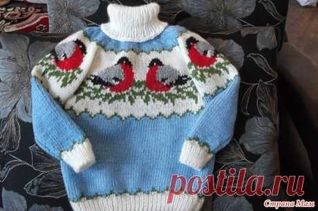 Снегири .Шапочка и свитер с описанием