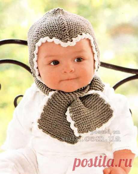 детская шапочка и шарф спицами