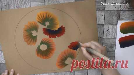Рисуем подсолнухи в круге в технике двойного мазка | О Творчестве с Ириной Лямшиной | Яндекс Дзен
