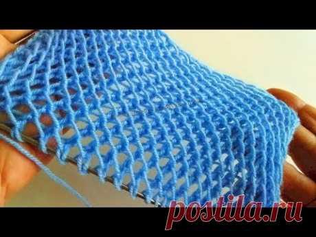 Уже вяжете на осень? Посмотрите классную 3D двухстороннюю сеточку спицами для любых проектов!