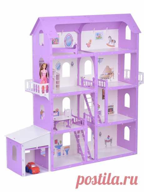 """Кукольный домик """"Коттедж Александра"""" Krasatoys бело-сиреневый                    (с мебелью), KRASATOYS Дом размером   (ШхГхВ) 139,5 x 36 x 140 см. Для кукол размером до 30см. Четыре этажа, два балкона с резными перилами,   две лестницы,  комплект мебели из пяти предметов: гардеробная, кровать,  стол, 2 стула,  и набор наклеек с изображениями элементов интерьера. Дом дополнен  современным гаражом. В комплекте так же имеется схема сборки, которая позволяет удобно и быстро п..."""