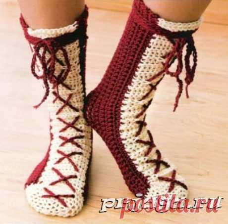 Вязаные носки и тапочки крючком и спицами - Результаты из #90