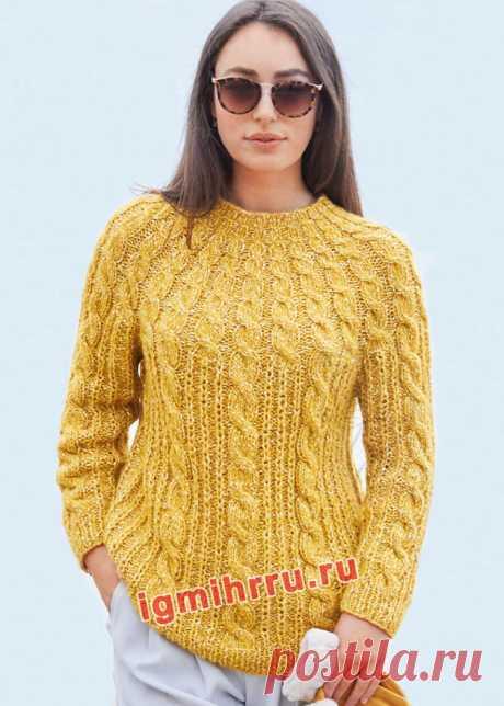 Желтый пуловер с круглой кокеткой из «кос». Вязание спицами со схемами и описанием