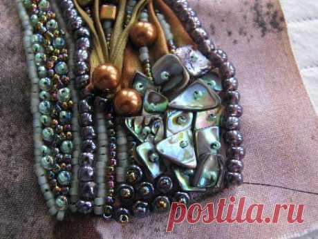 Beading Arts: Shibori ribbon bead embroidered bracelet - part two
