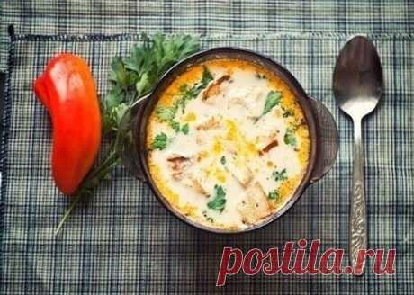 Сырные супчики — сытно и очень вкусно!  1. Сырный суп по-французски  Ингредиенты:  Филе курицы — 400–500 г Плавленый сыр — 200 г Картофель — 400 г Лук — 150 г Морковь — 180 г Сливочное масло — по вкусу Соль — по вкусу Перец — по вкусу Зелень — по вкусу Лавровый лист — 2–3 шт.  Приготовление:  1. В кастрюлю на 3 л положить мясо и налить воды. Как только бульон начнет кипеть, добавить 1 ч. л. соли, пару горошков душистого перца и черного, 2–3 листика лаврового листа. Варить ...