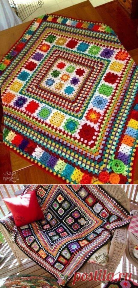 """Уютные коврики из """"бабушкиного"""" квадрата. Крючком. Схема БК. / knittingideas.ru"""