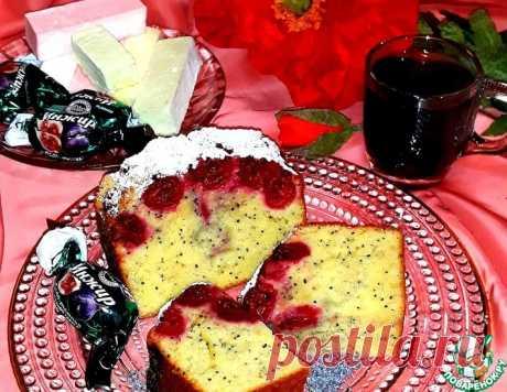 Бисквитный пирог с маком и вишней – кулинарный рецепт