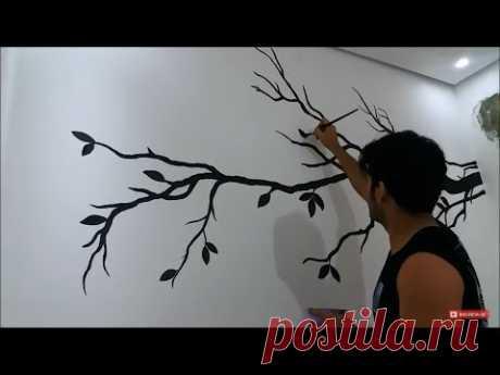 Pintura tipo papel de parede - decoração Sala, galho com pássaros
