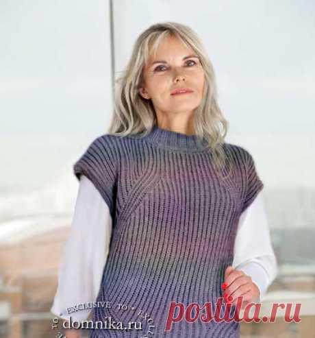 Вязание безрукавки английской резинкой - жилеты спцами для женщин