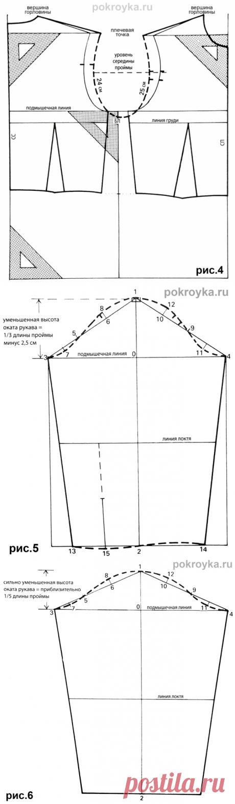 Базовая выкройка лифа свободной формы и рукава с маленьким окатом     pokroyka.ru-уроки кроя и шитья