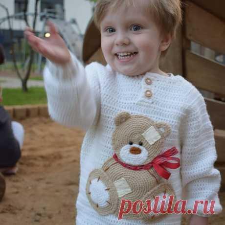Улыбнитесь) #pigilova_knitting #teddy #handmade #ручнаяработа #ручная_работа #вязаниекрючком #рукоделие #хендмейд #авторскаяработа #вязание #crochet #knitting #мамавяжет #теддик #вязаниедлядетей  #forkids #вяжутнетолькобабушки #люблювязать #крючком #metoyou #teddybear #bear #тедди #мишкатедди #вязаныевещи #модноевязание #вязаныйджемпер #вяжунемогуостановиться #crochetsweater